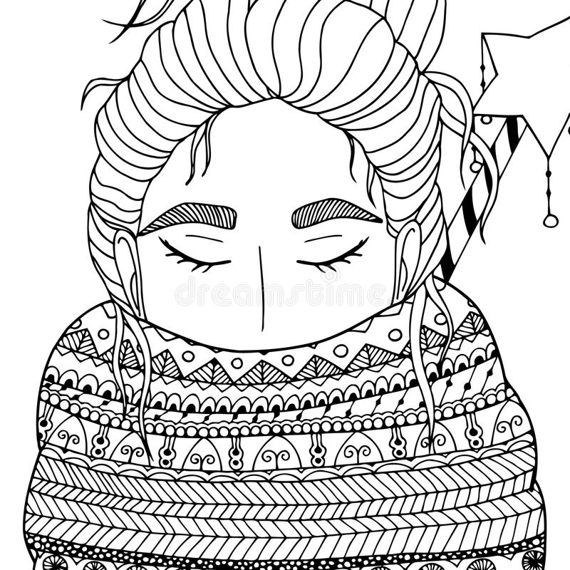 Vector Christmas illustration zentangl girl in scarf. Doodle drawing. Coloring book anti stress for adults. Meditative royalty free illustration