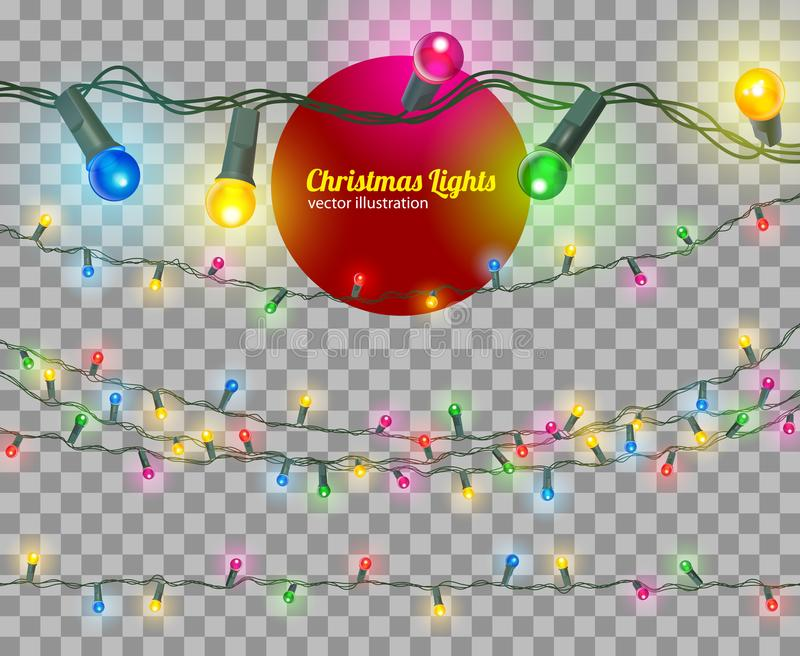 Vector christmas lights. Christmas lights isolated, vector transparent illustration stock illustration