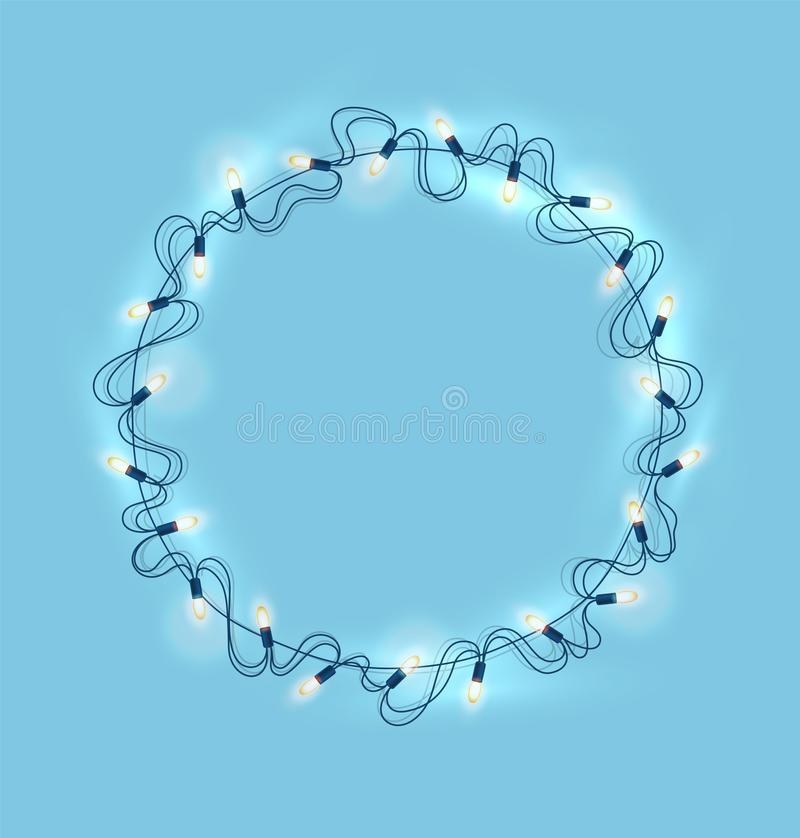Vector christmas lights, realistic garland on blue. Christmas lights, realistic glowing garland on blue background. New year, xmas holiday festive decoration royalty free illustration