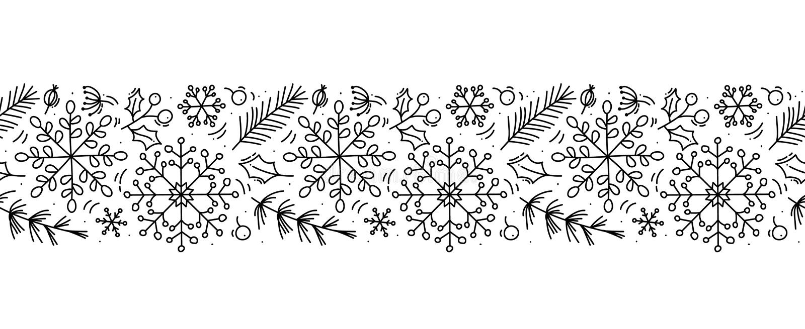 Vector Christmas monoline scandinavian seamless pattern ornament new year fir tree and leaves. Winter doodle xmas stock illustration