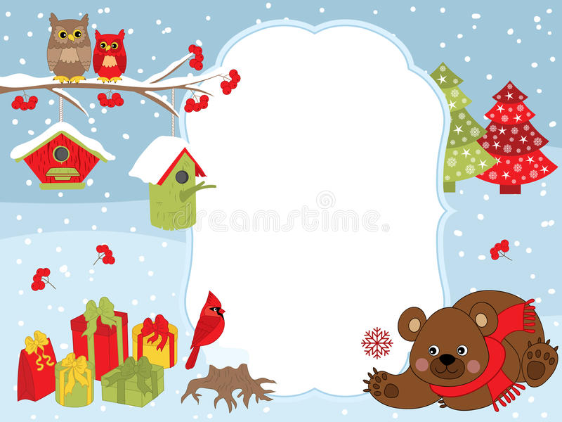 Vector Christmas and New Year Card Template with a Bear, Owls, Cardinal, Birdhouses and Gift Boxes on Snow Background. Vector Christmas and New Year card royalty free illustration