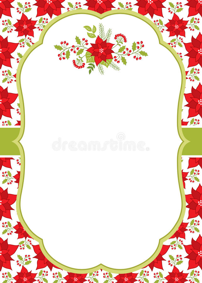 Vector Christmas and New Year Card Template with a Floral Winter Bouquet on Poinsettia Background. royalty free illustration