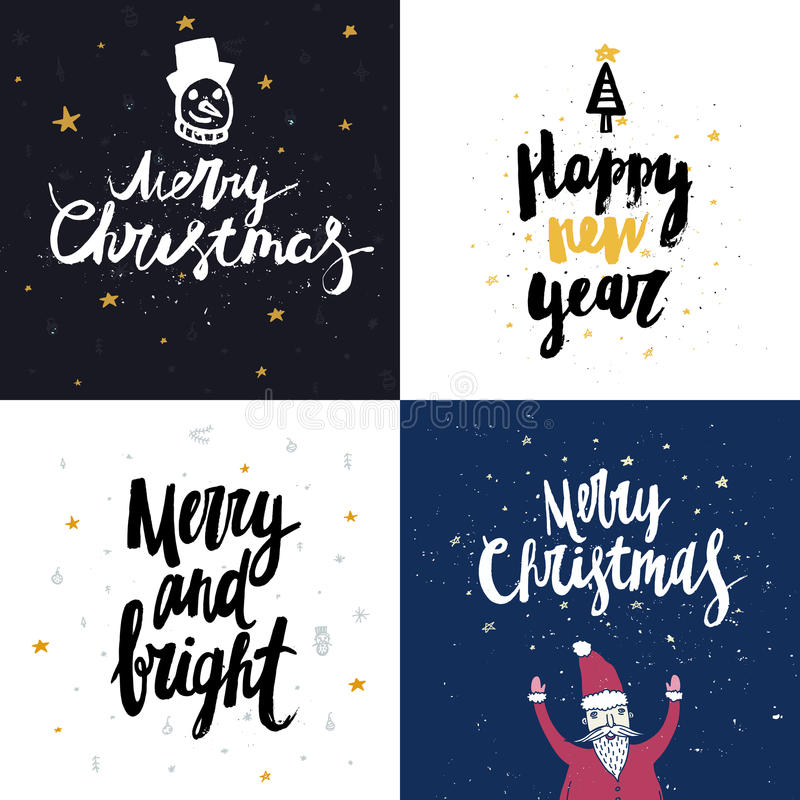 Vector Christmas and New year cards collection with handdrawn lettering. royalty free stock images