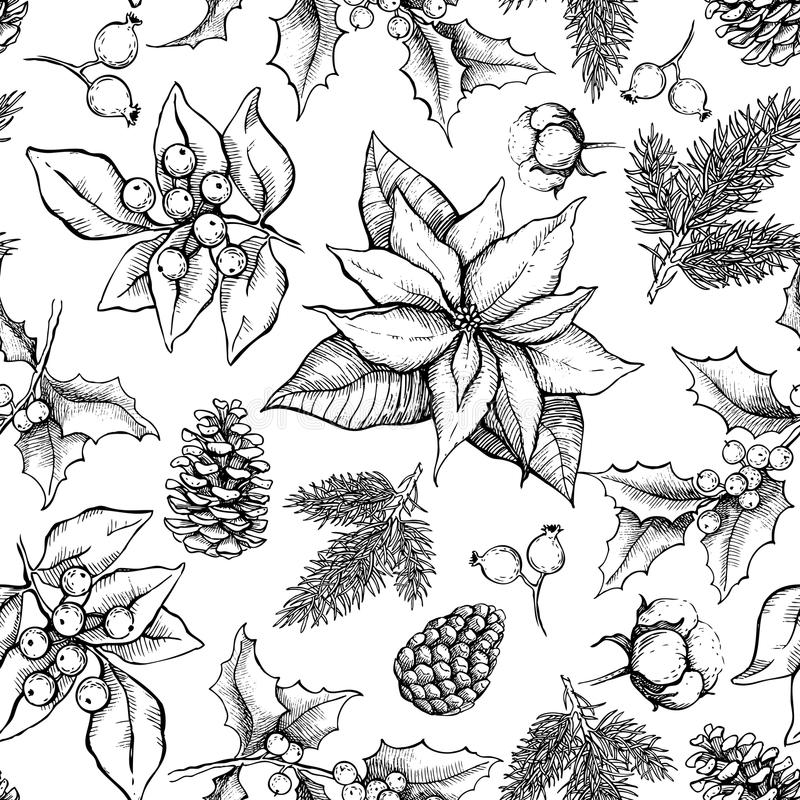 Vector Christmas and New Year hand drawn vintage pattern royalty free illustration