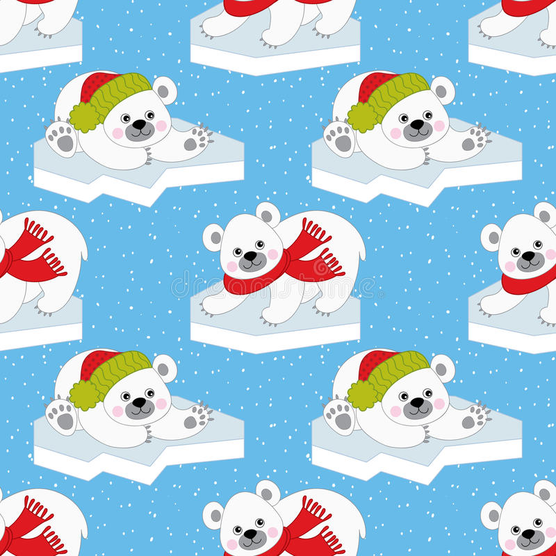 Vector Christmas and New Year Seamless Pattern with Polar Bears. vector illustration