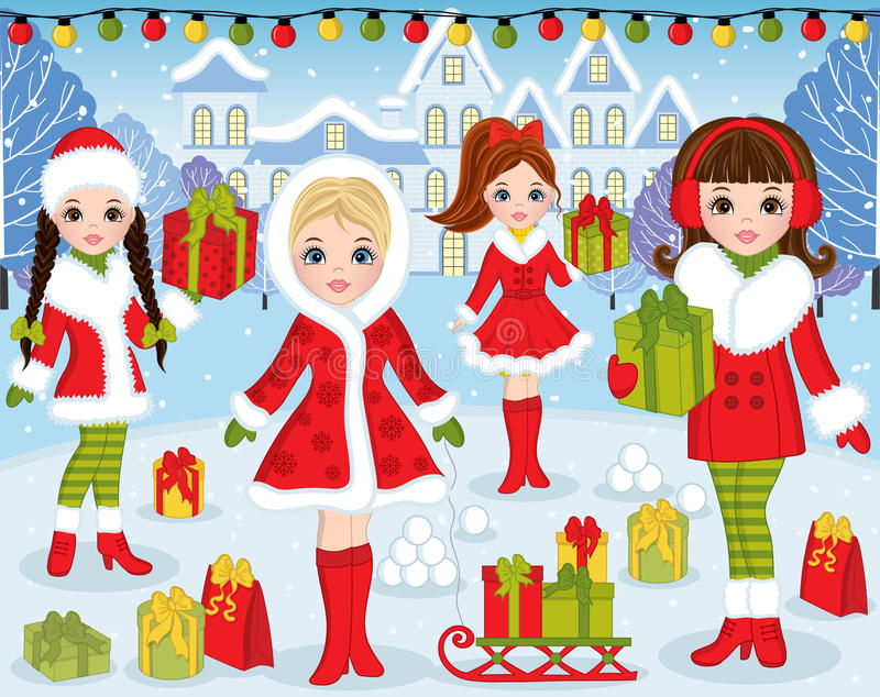 Vector Christmas and New Year Set with Beautiful Girls and Xmas royalty free illustration