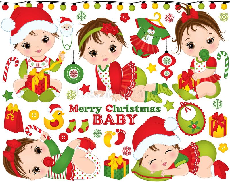 Vector Christmas and New Year Set with Cute Little Baby Girls and Festive Accessories and Toys stock illustration