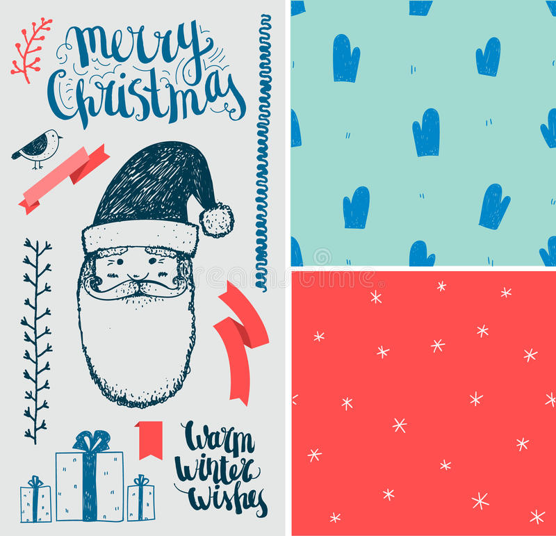 Vector Christmas, New Year set. Hand drawn winter royalty free illustration