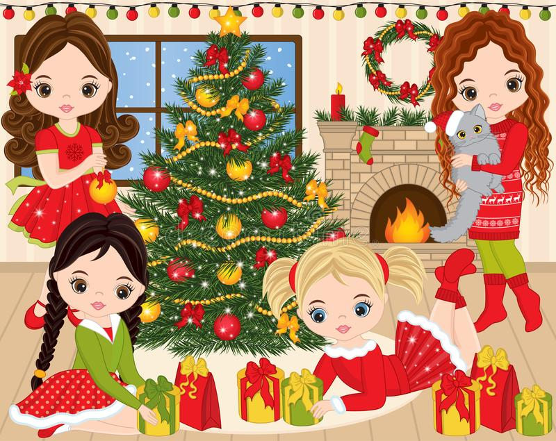 Vector Christmas and New Year Set with Cute Little Girls, Xmas Tree and Fireplace stock illustration