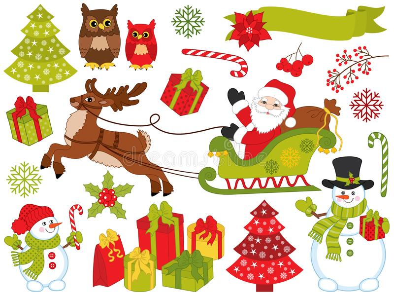 Vector Set of Santa Claus and Christmas Festive Elements royalty free illustration