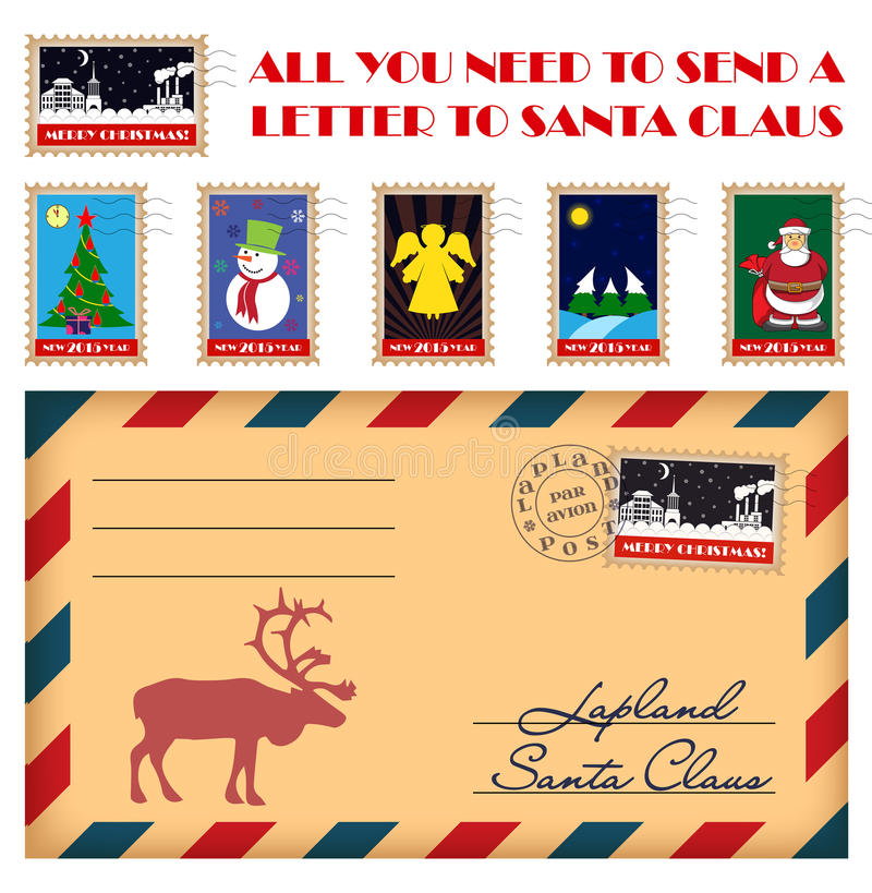 send a letter to santa vector and new year stamps and envelope stock 24792 | vector christmas new year stamps envelope all you need to send letter to santa claus 46255918