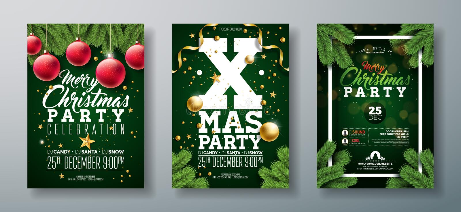 Vector Christmas Party Flyer Design with Holiday Typography Elements and Ornamental Ball, Pine Branch on Dark Green vector illustration
