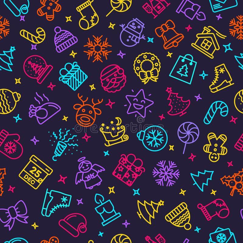 Vector Christmas pattern neon style royalty free illustration