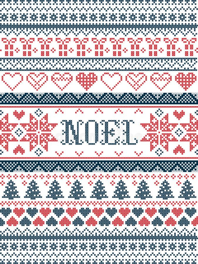 Vector Christmas pattern Noel inspired by festive, winter Nordic culture in cross stitch with hearts, christmas present. Decorative ornaments, snowflake vector illustration