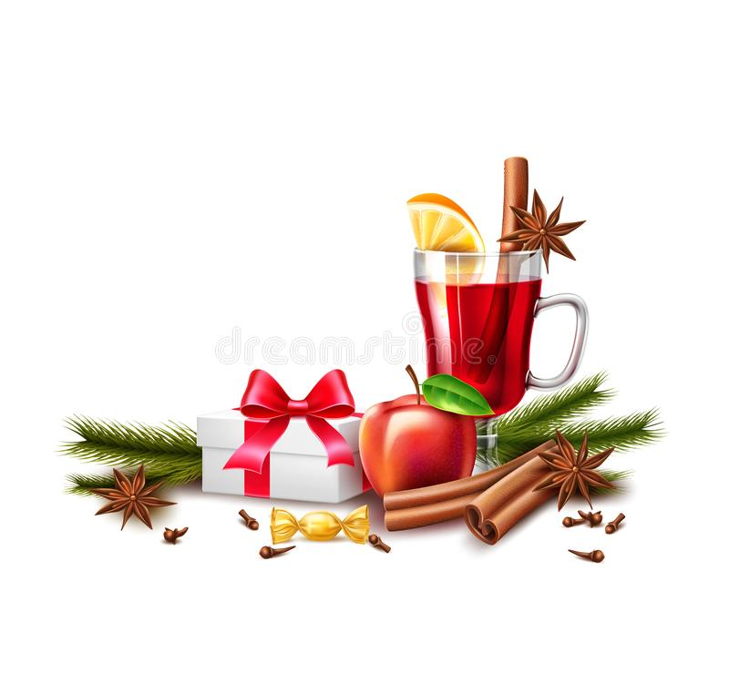 Free Vector Christmas Poster Mulled Wine Present Box Royalty Free Stock Photography - 127277167