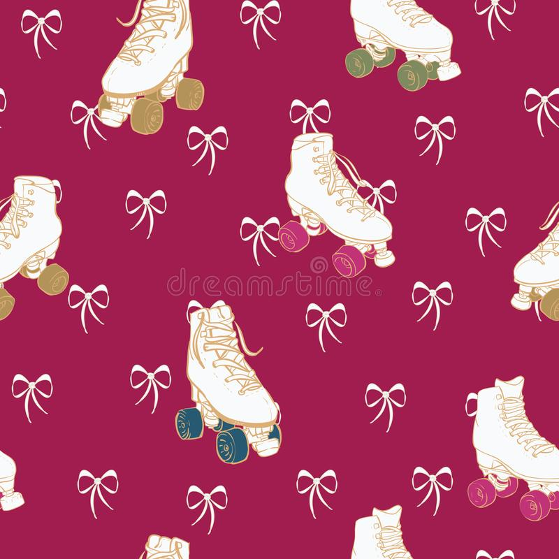 Vector Christmas Roller Skates and Lace Bows on red seamless pattern background. vector illustration
