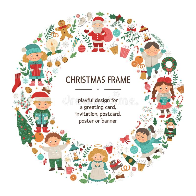 Vector Christmas round frame with children, Santa Claus, Angel on dark blue background. Holiday themed banner or invitation royalty free illustration