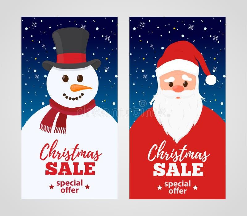 Vector Christmas sale - cartoon Santa Claus with snowman. vector illustration