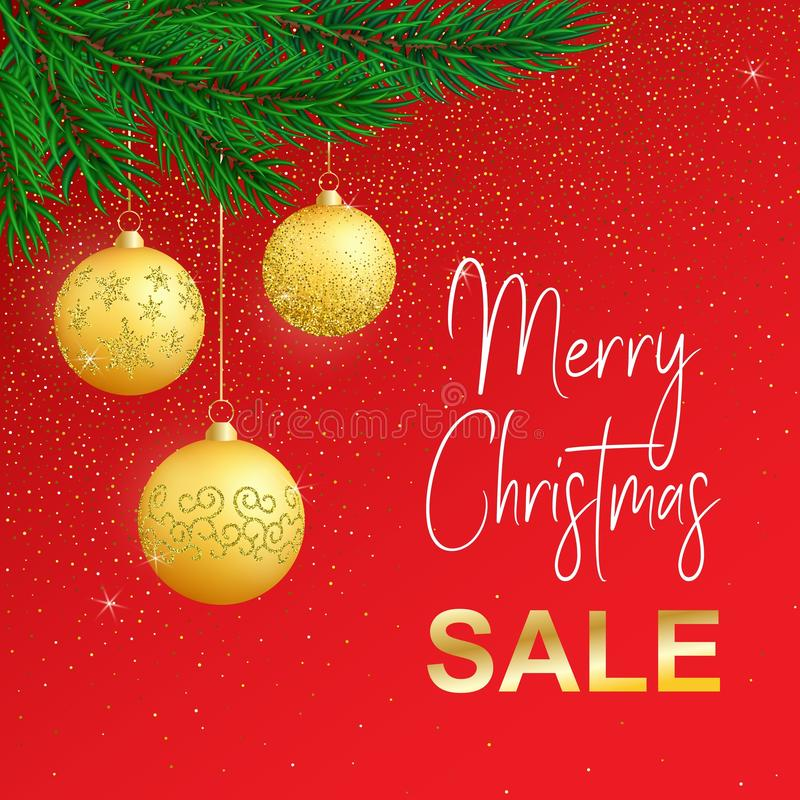 Vector Christmas Sale poster with golden balls on red background. vector illustration