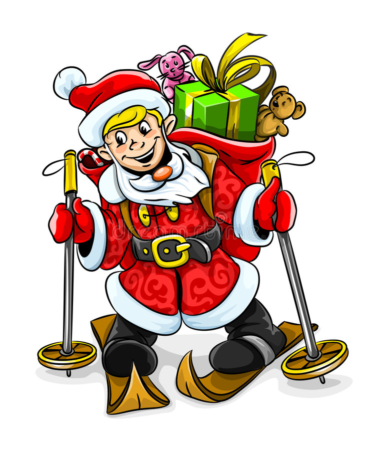 Vector Christmas Santa boy with gifts on skis royalty free illustration