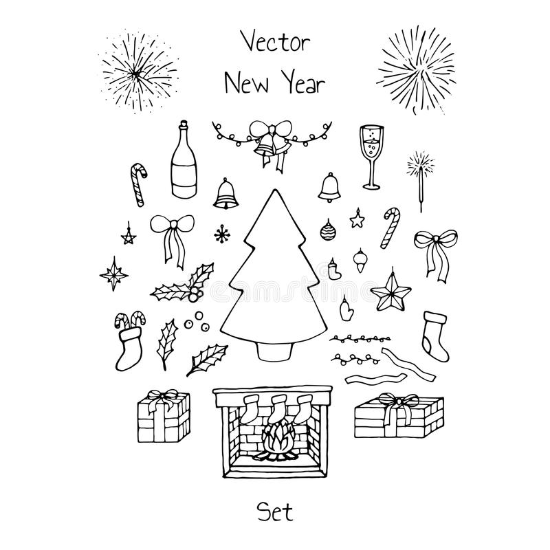 Vector Christmas set with holiday elements: bows, bells, balls, fir tree, stars, mistletoe, fireworks, champagne and fireplace. Vector Christmas set with holiday vector illustration