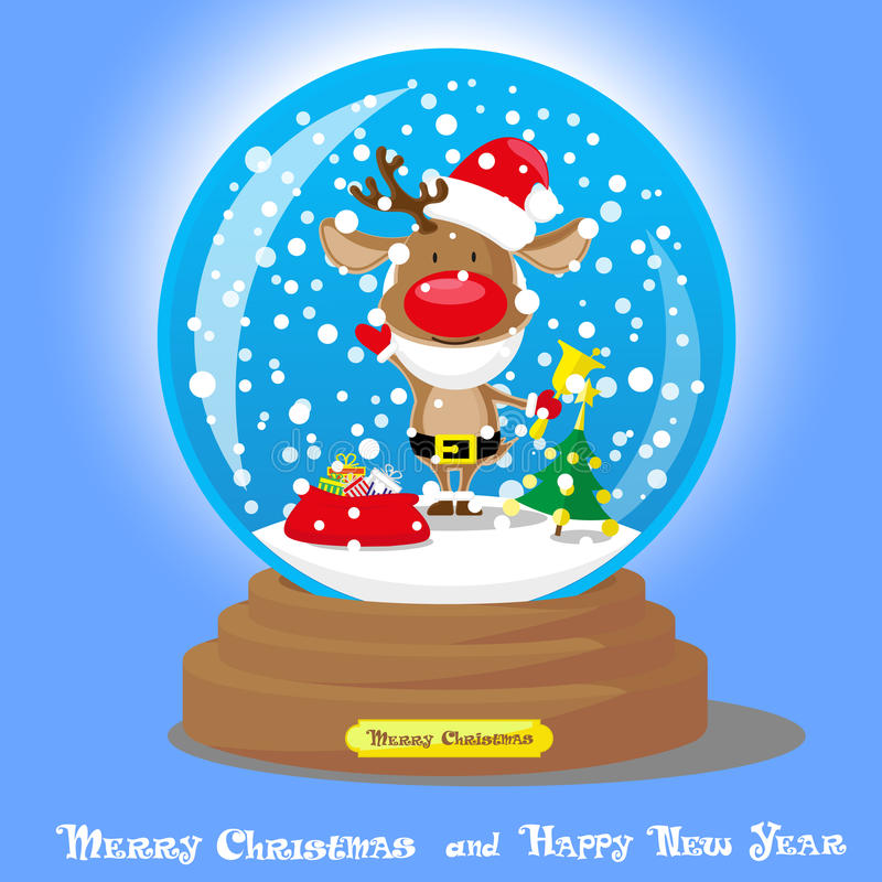 Vector Christmas Snow Globe: deer in santa hat and beard with big bag gifts on blue gradient background royalty free illustration
