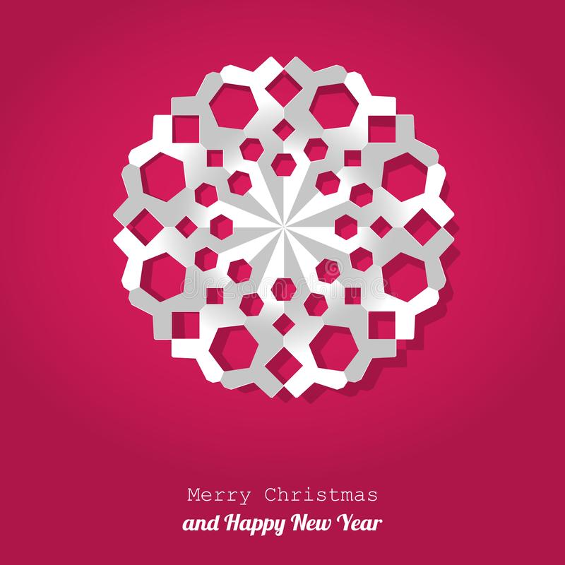 Vector Christmas snowflake paper on a pink background. royalty free illustration