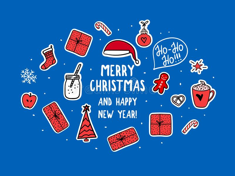 Vector Christmas symbols set for card, banner holidays design on blue background. Trendy sticker style vector illustration