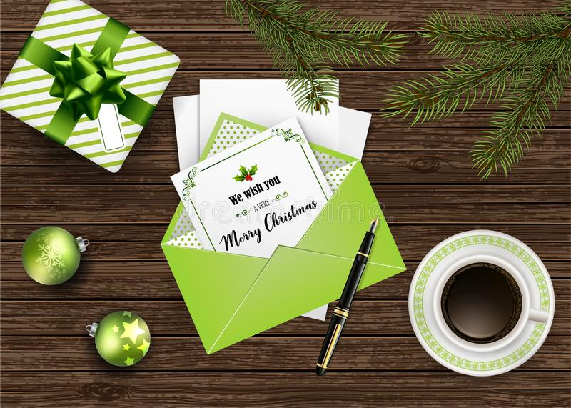 Vector Christmas holiday top view background with greeting card in envelope vector illustration