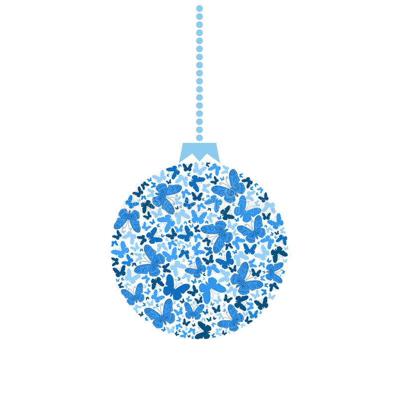 Vector Christmas tree ball blue butterflies royalty free illustration