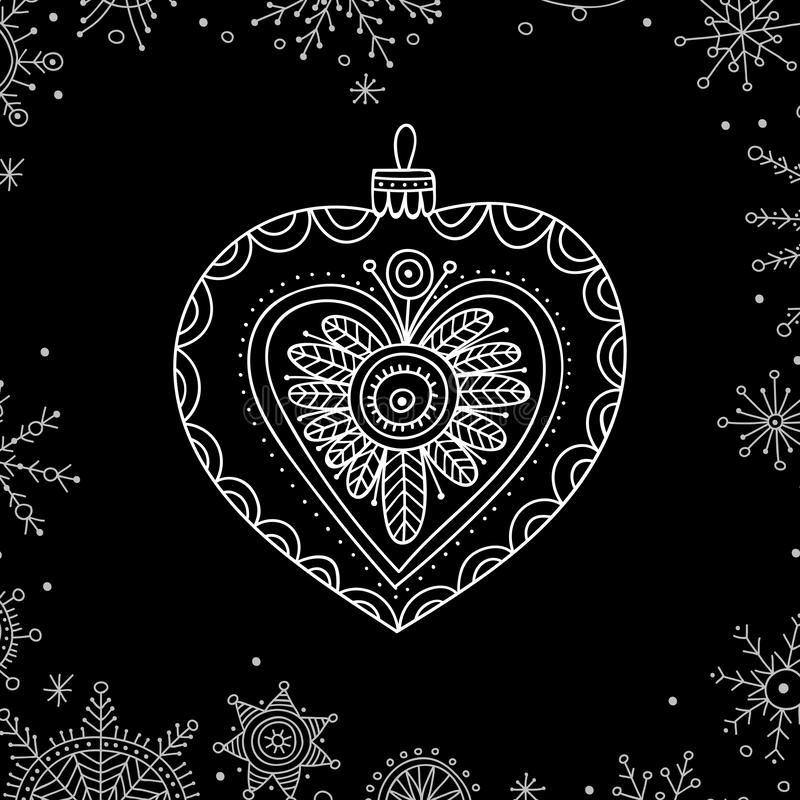 Vector Christmas tree decoration bauble line art. In boho style. Can be printed or used as design template, sticker, icon, logo, card stock illustration