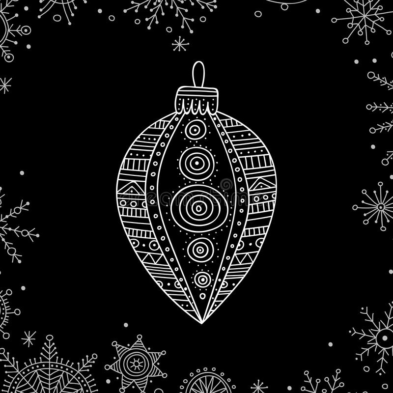 Vector Christmas tree decoration bauble line art. In boho style. Can be printed or used as design template, sticker, icon, logo, card vector illustration