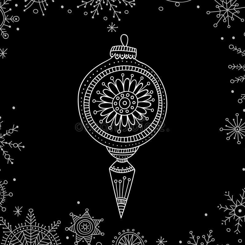 Vector Christmas tree decoration bauble line art. In boho style. Can be printed or used as design template, sticker, icon, logo, card royalty free illustration