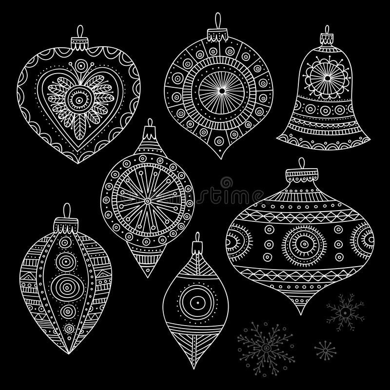 Vector Christmas tree decoration baubles line art. In boho style wit ornament. Can be printed or used as design template, sticker, icon, logo, card stock illustration