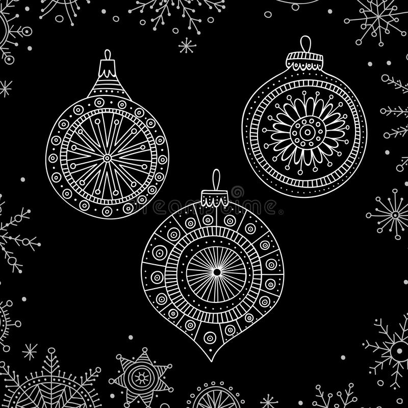 Vector Christmas tree decoration baubles line art. In boho style wit ornament. Can be printed or used as design template, sticker, icon, logo, card royalty free illustration
