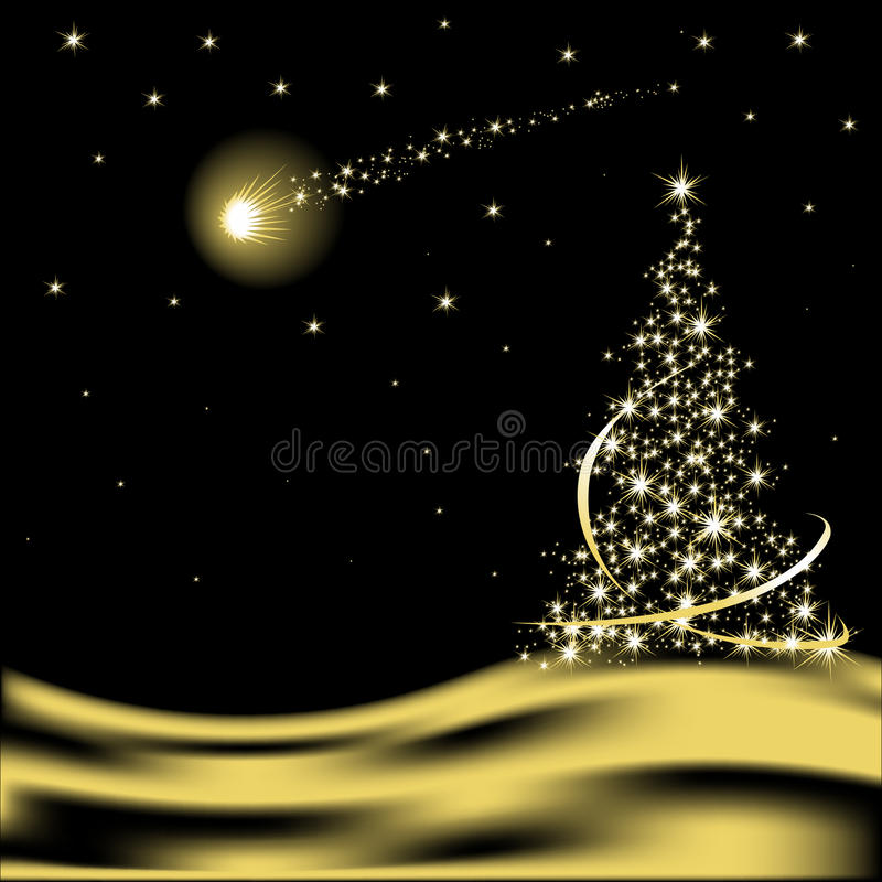 Vector Christmas tree with falling star stock illustration