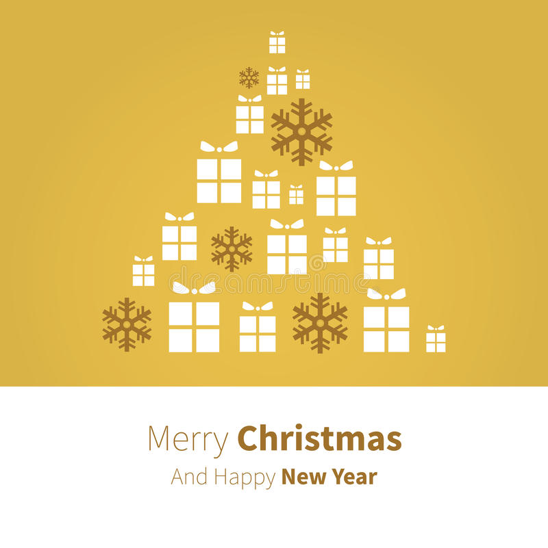 Vector christmas tree in present in gold. Christmas Tree present for xmas background greetings in gold color stock illustration