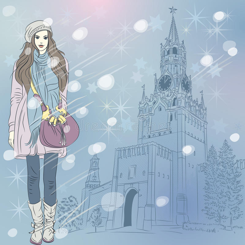 Vector Christmas winter cityscape with fashion gir royalty free illustration