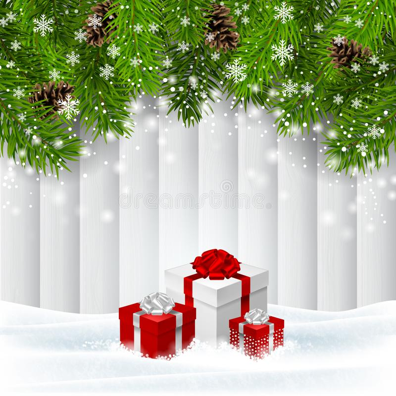 Vector Christmas wooden background with red giftboxes. Christmas wooden background with red giftboxes in snow , evergreen branches and pine cones. Vector stock illustration