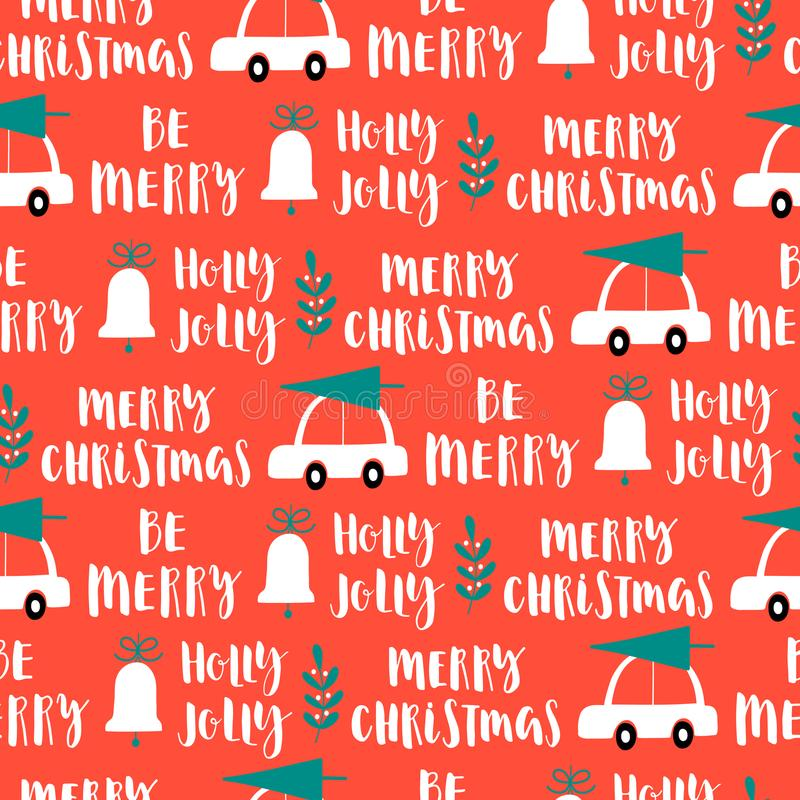 Vector Christmas words seamless pattern on red background. stock illustration