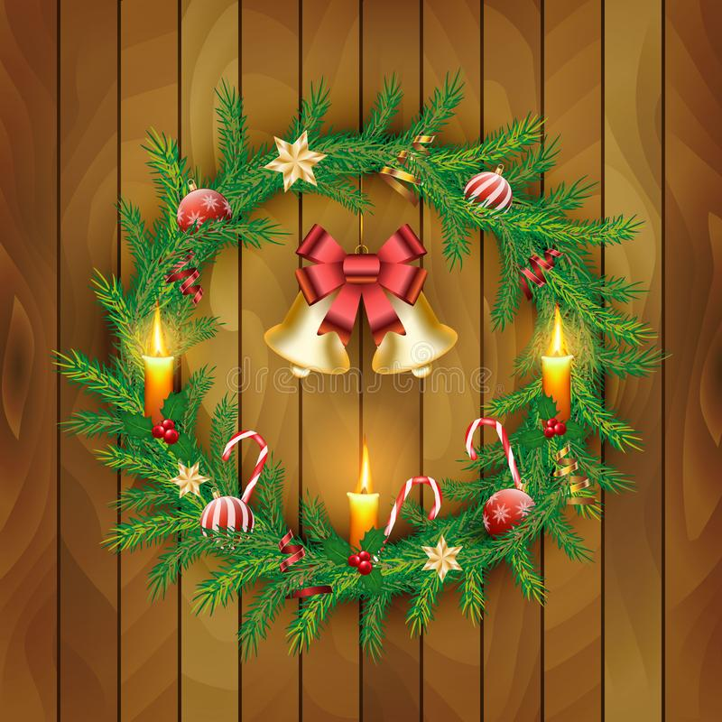 Vector Christmas Wreath with gold bells, red berries, candle, candy canes, bow, balls on wooden board background. royalty free illustration