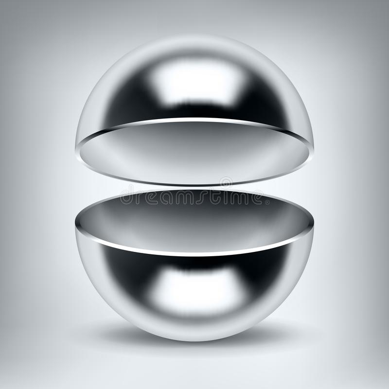 Free Vector Chrome Hollow Sphere, Open Glossy Metal Ball, Abstract Object For You Project Design Stock Image - 138136031