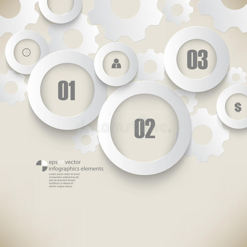 Vector chrome rings and gears infographics background vector illustration