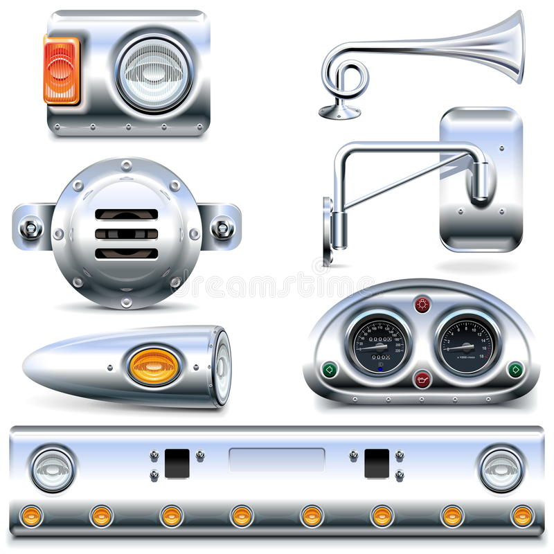 Free Vector Chromed Truck Parts Set 3 Stock Image - 65864831