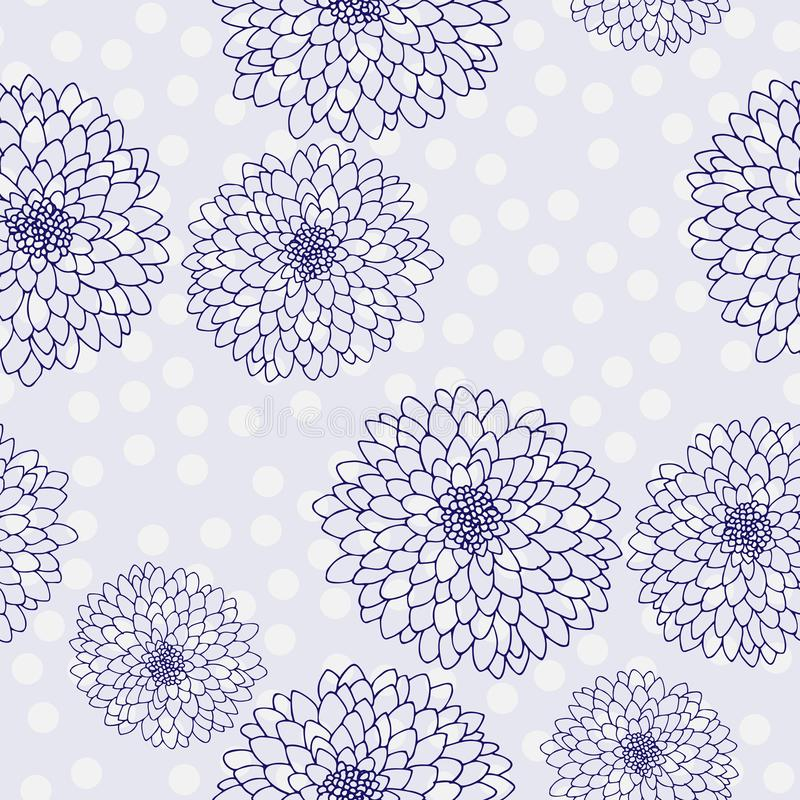 Vector chrysanthemum. Seamless pattern of golden-daisy flowers.  Monochrome template for floral decoration, fabric design, stock illustration