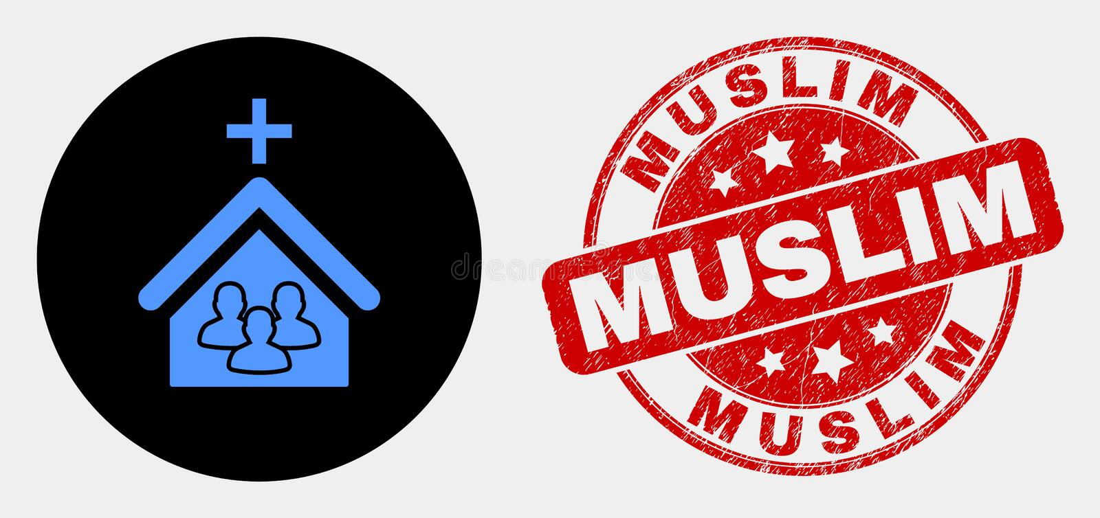 Vector Church People Icon and Distress Muslim Stamp. Rounded church people icon and Muslim seal stamp. Red round scratched seal stamp with Muslim text. Blue stock illustration