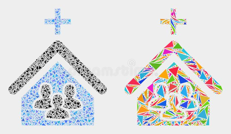 Vector Church People Mosaic Icon of Triangle Elements. Church people collage icon of triangle elements which have different sizes and shapes and colors vector illustration