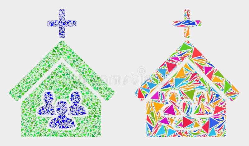 Vector Church People Mosaic Icon of Triangles. Church people mosaic icon of triangle elements which have variable sizes and shapes and colors. Geometric abstract royalty free illustration