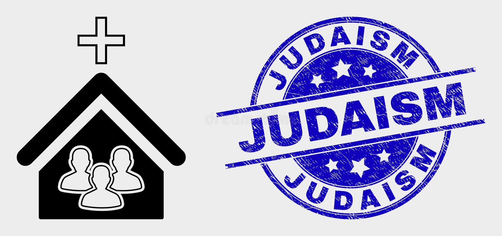 Vector Church People Icon and Distress Judaism Watermark. Vector church people pictogram and Judaism seal stamp. Red rounded grunge seal stamp with Judaism text stock illustration