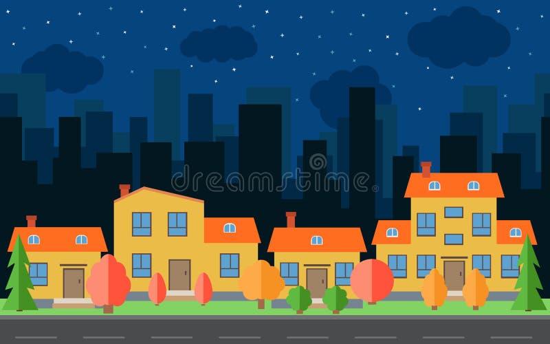 Vector a cidade da noite com casas e construções dos desenhos animados Espaço da cidade com a estrada no conceito liso do fundo d